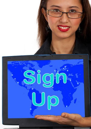 women with sign up sign on laptop